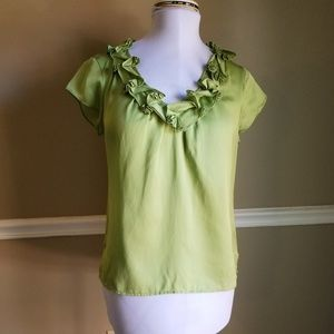 Talbots Green Silk Blend Satin Ruffle Blouse 8